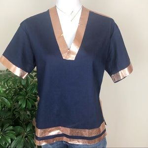 Clover canyon navy top with gold stripes